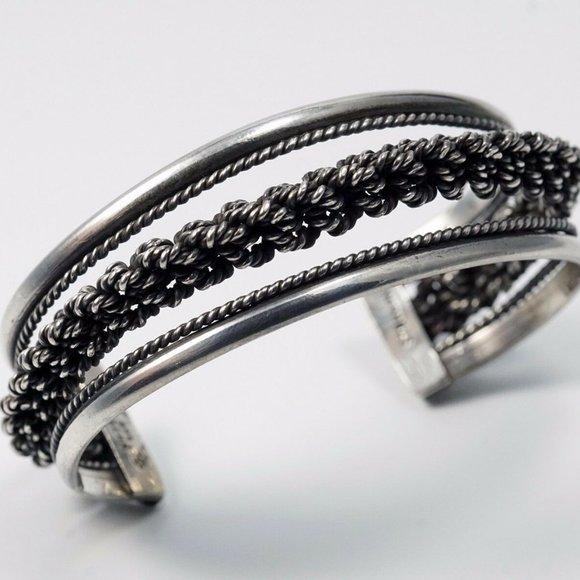 Vintage Sterling Silver Braided Cuff Bracelet